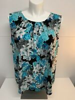 Calvin Klein Womens Blue Black White Floral Tank Shell Plus Size 3X Pleated