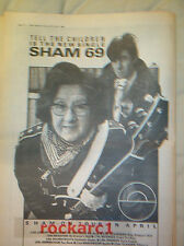 SHAM 69 Tell The Children 1980 UK Poster size Press ADVERT 16x12 inches