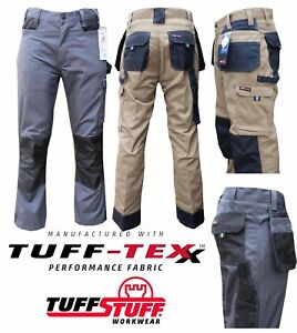 MENS TUFF STUFF HEAVY DUTY COMBAT WORK TROUSERS WITH KNEE PAD POUCHES NAIL PPE
