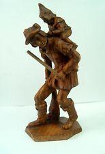 Old German Molded Carved Wood Look Traveler W/Elf On Back Hildesheim Souvenir