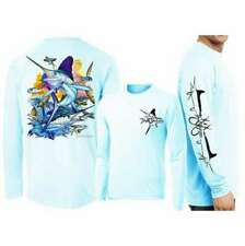 David Dunleavy DMW8032 White Marlin Long Sleeve Tee - Arctic Blue