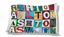 Personalized Pillowcase featuring the name ASHTON in photos of sign letters