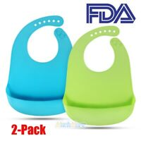2 Pack Waterproof 100% Food-Graded Silicone Baby Feeding Bib Food Catcher Pocket
