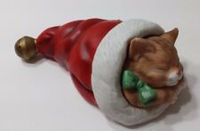 Schmid 1987 Wind Up Kitten in Stocking Musical Im Dreaming of A White Christmas