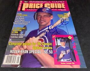 Mark Grace Chicago Cubs Autographed Signed Price Card Magazine Cover Aug 1990