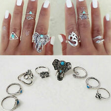 8PCS /set Rings Tribal Turquoise Hippie Gothic Elephant Snake Stacking Rings