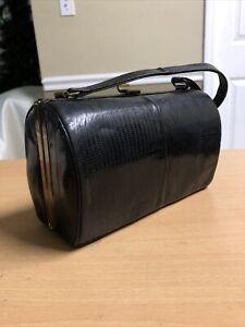 Purse LIZARD Leather Bass Pillbox Satchel 1940s 1950s Handbag Small Skin VINTAGE