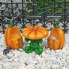 Halloween Pumpkin Table & Chairs Set, Jack-O-Lantern, Fairy Garden by Jennifer