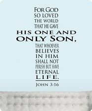 "30"" John 3:16 for God so Loved the World Wall Decal Sticker Christian Cross Home"
