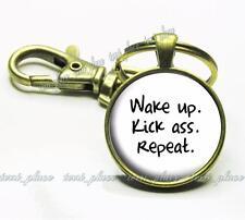Wake Up. Kick Ass. Repeat. Motivational Fitness Quote Glass Bronze Key Chain