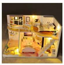 Wooden Doll Houses Toy Dollhouses Model Miniatures Dream Home Children Play Toys