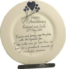 Personalised 65th Wedding Anniversary Gift Plate (Flower) (Rd) (Blue Sapphire)