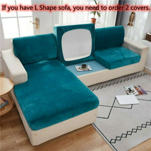 Elastic Plush Velvet Sofa Seat Cover Slipcover Couch Furniture Protector L-Shape