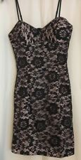 Shirly Osadon Black Lace Corset Style Dress Size M Pink Lining Cocktail NWT