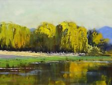 landscape oil painting willow trees by Australian artist