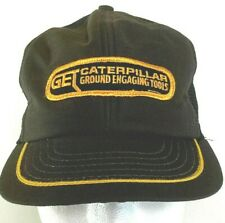Vtg CAT Caterpillar GET Brown Mesh Snapback Trucker Farmer Hat Cap USA Made
