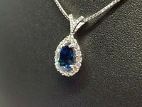 Collier Saphir 1.97 carats Diamants en Or blanc 18 carats 750/1000 5.04 grammes
