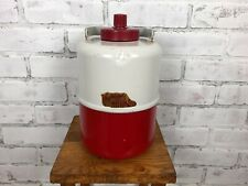 Vintage Red Metal Vagabond Thermos Glass Lined Mid-Century Camping