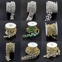 1 Yard Clear Crystal Rhinestone Chain Bridal Dress Belt Sash DIY Sewing Decor