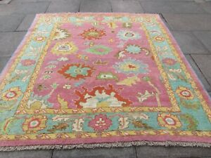 Vintage Traditional Hand Made Turkish Oushak Oriental Wool Pink Carpet 217x212cm