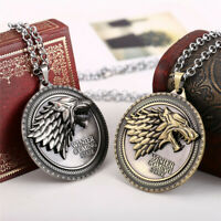 Game of Thrones House Stark Wolf Pendant Chain Stainless Steel Necklace Jewelry
