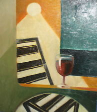 Vintage abstract oil painting modernist still life with glass of wine