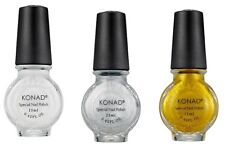 Konad Stamping Nail Art  Special Polish White, Gold, Silver 11ml each GREAT DEAL