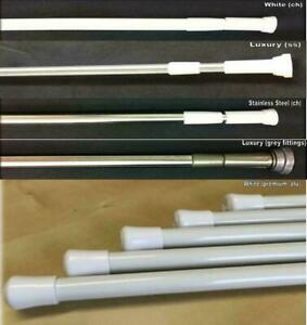 TELESCOPIC SHOWER RAIL ROD WHITE, CHROME & STAINLESS STEEL in 5  Sizes