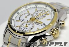 New Seiko SSC002 Solar Alarm Chronograph Two Tone White Dial Men's Watch