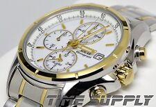 New Seiko SSC002 Solar Alarm Chronograph Two Tone White Dial Men's Watch