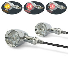 CHROME Retro Motorbike Motorcycle Integrated LED Indicators + Stop & Taillights
