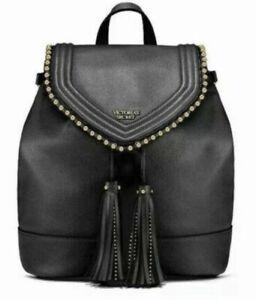 Victoria Secret Boho Tasselled Black Ball Stud Flap  Backpack Bag