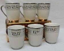 NEW 6 X SILVER GREEK DESIGN PORCELAIN CHINA TEA / COFFEE MUG