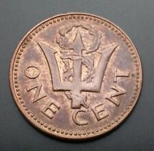 Barbados 1 Cent No Date 1966-1976. KM#19. One Penny coin. Trident 10 Anniversary