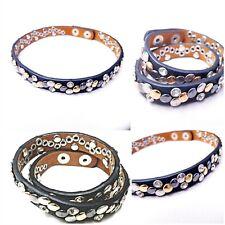 Premier Designs leather wrap bracelet chocker studded brass necklace lot of 2