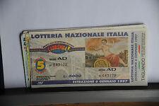 BIGLIETTO - LOTTERIA NAZIONALE ITALIA - ESTRAZIONE 6/1/1997 CON TAGLIANDO