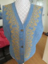 Lizwear Women's Denim Blue Embroidered Waistcoat .Size L. UK 14 BUST 40 INCHES.