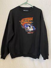 Big Dogs Racing, Attitude to Burn Crewneck Sweatshirt Black Medium Embroidered