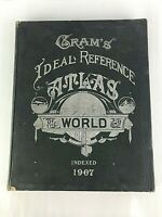 Antique Gram's Ideal Reference ATLAS of the WORLD 1907 Made in USA 12 x 15 in