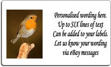 260 x Robin Bird Personalised Self Adhesive Labels - UK SELLER