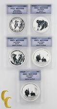 1993-2011 Australia $1 Dollar Coin Lot of 5 Kookaburra, Koala, Rabbit MS70 DCAM