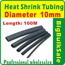 100m x Heat Shrink Tubing Diam 10mm Black Aus Seller