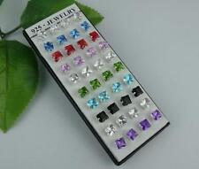Wholesale 40pcs NF 925 Silver square CZ stud Earrings 5mm