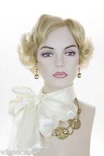 Champagne Blonde Blonde Short Human Hair  Monofilament Hand Tied Wavy Wigs