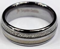 Tungsten Carbide Silver Men's Wedding Band Ring Deer Antler Meteorite Inlay