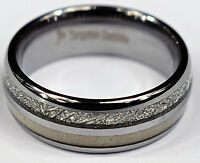 Tungsten Carbide Ring  Deer Antler And Meteorite Inlay Comfort Fit Wedding Band