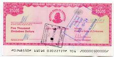 Zimbabwe Dollar Travellers Cheque $5 000 Check 2003 P16 $5000 Rare Version 2