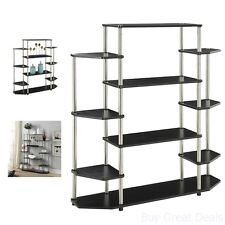 Small Bookshelf Wall Unit Modern Black Bookcase Shelf Storage Furniture Display