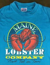 """Vintage Mens M 1988 Maine Lobster Company """"Best Tail In Town"""" Seafood T-Shirt"""