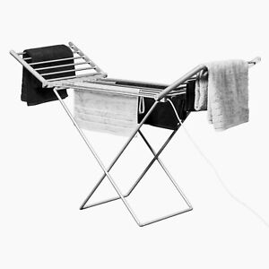 Electric Heated Clothes Airer Dryer Home Horse Rack Laundry Folding Washing Line